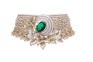 18k-Leaf-inspired-Gold-Statement-choker-with-emerald,-yellow-sapphires,-round-WHP-Jewellers