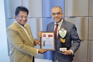 Kamlesh Gupta receiving Best CEO in Aquaculture Sector Award at the prestigious Aqua International Awards in October 2016
