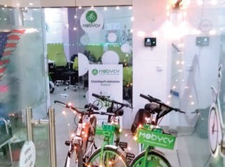 e-scooter; The Mobycy office in Gurugram